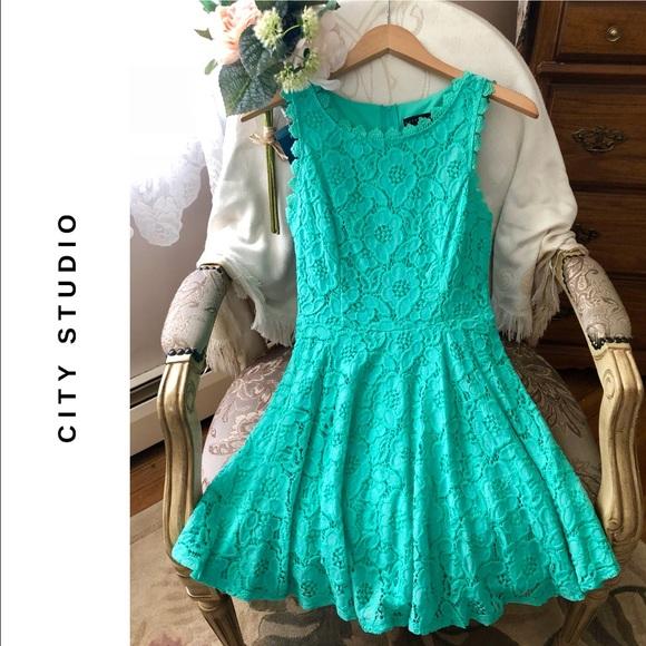e38f1779e City Studio Other - 👗HPx2 CITY STUDIO Juniors' Lace Fit & Flare Dress